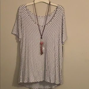 Black polka dot top WITH NECKLACE!
